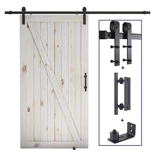 SMARTSTANDARD 8FT Sliding Barn Door Hardware Whole Kit (Include 8FT Track Kit & Pull Handle Set & Floor Guide), Smoothly and Quietly, Easy to Install, Fit 42