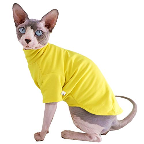 Sphynx Cat Clothes Winter Thick Cotton T-Shirts Double-Layer Pet Clothes, Pullover Kitten Shirts with Sleeves, Hairless Cat Pajamas Apparel for Cats & Small Dogs (S (3.3-5 lbs), Yellow)