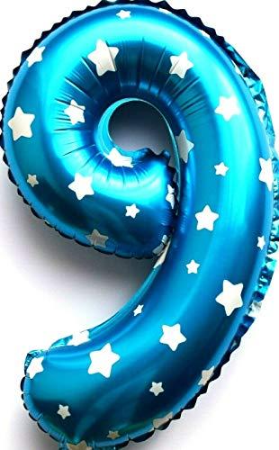 SauParty XL 70cm sin Globo de Helio ! Globo de Plástico Número 9 Azul Niños Cumpleaños Regalo