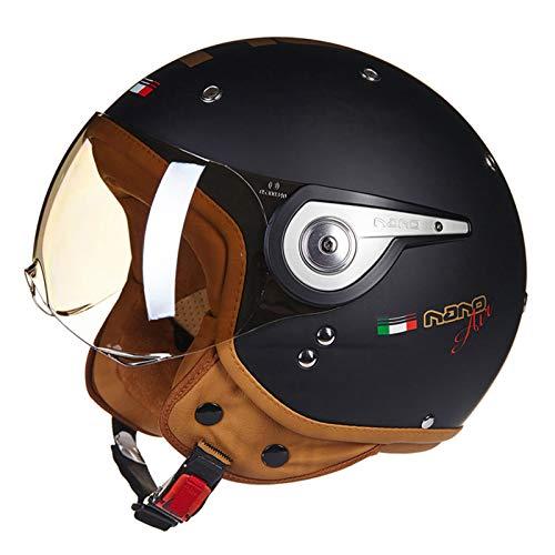 ABDOMINAL WHEEL Casco Moto Jet Adulto,Casco Moto Abierto Retro con Visera Transparente,Casco...