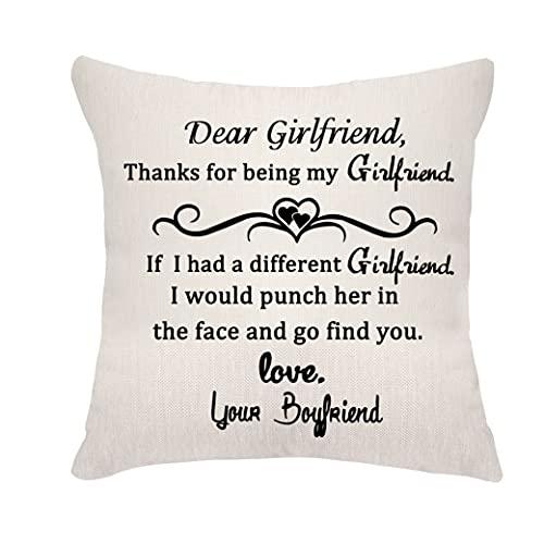 VEEMIZO Fundas de cojín para novia, regalo para su cumpleaños, fundas de almohada para novia, querida novia, agradecimiento por ser mi novia, 45,7 x 45,7 cm