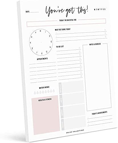 Bliss Collections Planificateur journalier à détacher, 50 feuilles non datées, bloc-notes de bureau, calendrier journalier de motivation, planificateur de tâches, liste de tâches, planificateur de productivité, planificateur de repas, 21,6 x 27,9 cm, vertical