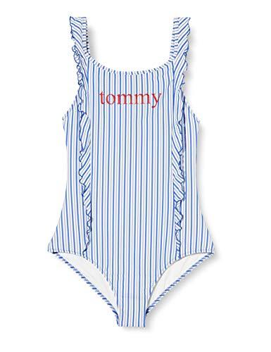 Tommy Hilfiger One-Piece Bikini, Azul, 12-13 años (Talla del Fabricante:) para Niñas