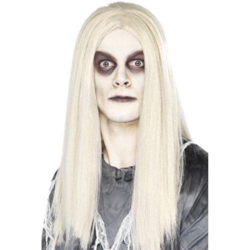 Amakando Perruque D'Indien Zombie Cheveux de Fantôme Effrayant Blanc Ville Fantôme Soirée Halloween Déguisement Accessoire
