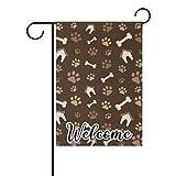 N/A Welcome Home Garden Fahne Hund Pfotenabdruck Doppelseitige Gartenflagge Hof Outdoor Decor Vertikale Gartenflagge 30,5 x 45,7 cm 30,5 x 45,7 cm, Polyester, einfarbig, 12x18 inch