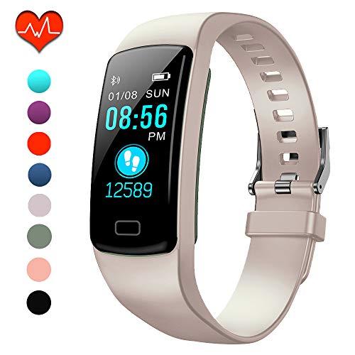 Polywell Fitness-Tracker, Aktivitätstracker mit Herzfrequenz-Monitor und Schlaf-Monitor, Bluetooth, wasserdicht, Schrittzähler und Kalorienzähler (Hell rosa)