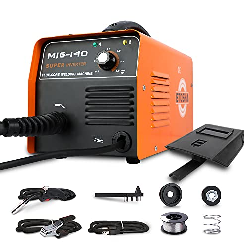 ETOSHA MIG 140 Welder AC Flux Core Wire Gasless Automatic Feed Welder IGBT ARC Welding Machine Portable 110V DIY Home Welder with Welding Gun, Grounding Clamp, Input Power Adapter Cable and Brush