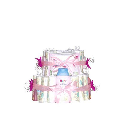 Windeltorte - Geschenk zur Geburt, Pampers-Windeln, Feuchttücher, Babypuder