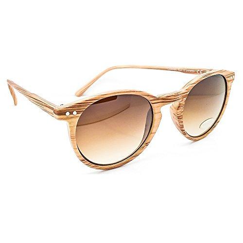 KISS Gafas de sol Line WOOD - estilo MOSCOT mod. WAVE Degradado - REDONDO hombre mujer VINTAGE fashion unisex - LIGHT WOOD