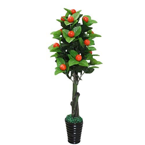 Árbol artificial realista Plantas artificiales 150cm Naranja Manzana Peatch Tree Bonsai en maceta Decoración del hogar Árbol frutal artificial Plantas falsas Plantas de interior Bonsai Planta falsa pa