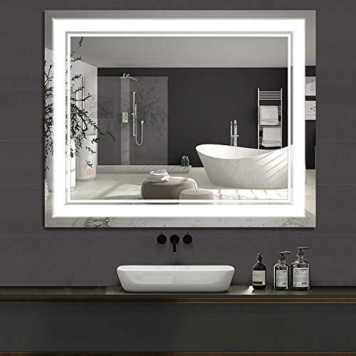 """Homedex 40""""x 32"""" Bathroom Led Vanity Mirror with 3 Colors Light, Dimmable Touch Switch Control, Anti-Fog Wall Mounted Makeup Mirror for Wall (Horizontal/Vertical)"""