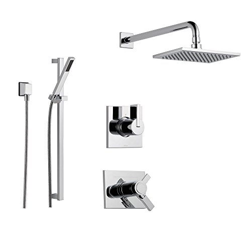 Delta Vero Chrome Shower System with Thermostatic Shower Handle, 3-setting Diverter, Large Square Rain Showerhead, and Handheld Shower SS17T5384
