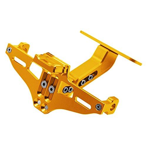 Universal CNC Aluminum Motorrad Kennzeichenhalter Halter mit Lizenz Licht für MT-01 MT-03 MT-07 MT-09 MT-10 YZF R1 R3 R6 Für CBR600 CBR750 CBR1000 (Gold)