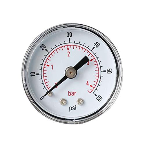 YINGGEXU Medidor de presión de Medidor de presión Trasera de 40 mm 1/8 BSPT 15,30,60.100,160,300 PSI y Bar para Aire, Gas, Agua, Combustible (Color : Red)
