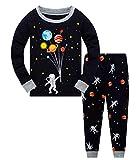 Schlafanzug Jungen 104 Pyjama Kinder Junge Baumwolle Winter Nachtwäsche Langarm Raumfahrt Planet Rakete(Astronaut-6221 3T)