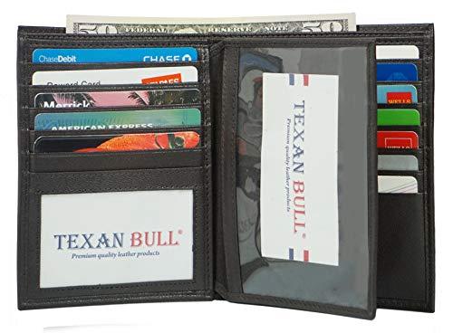 Bifold Genuine Leather RFID Blocking Wallet For Men Card Slots, 19 Cards, 2 ID Windows (Brown)
