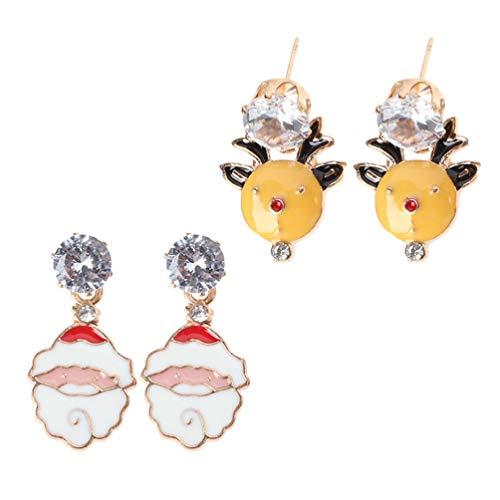 ABOOFAN 2 Pares de Pendientes de Navidad Santa Reno Diamantes de Imitación Cuelgan Pendientes de Gota Joyería de Oreja de Vacaciones de Navidad Disfraz de Cosplay de Navidad para Mujeres
