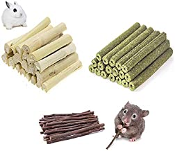 Ali York Hamster Chew Toys, Natural Wood Snack Toys-3 Pack, Apple Sticks Timothy Hay Sticks Sweet Bamboo Suitable for Chinchilla Guinea Pig Hamster Gerbil Bunny…