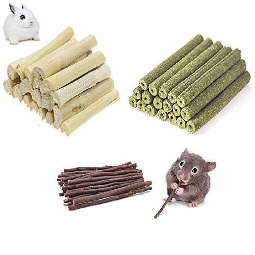 Ali York Hamster Chew Toys, Natural Wood Snack Toys-3 Pack, Apple Sticks Timothy Hay Sticks Sweet Bamboo Suitable for Chinchilla Guinea Pig Hamster Gerbil...