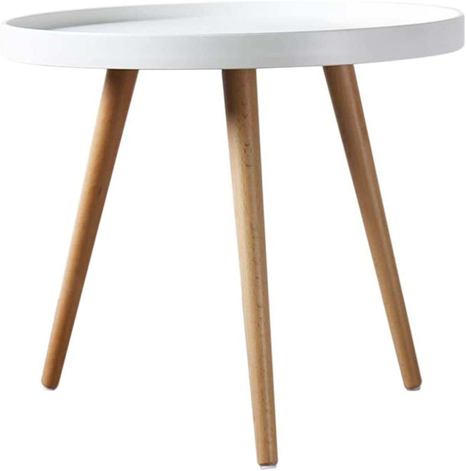 L-Life End Tables Side Table Round Coffee Table with Natural Oak Wood Legs Living Room Sofa Multi-Function Side (color   White)