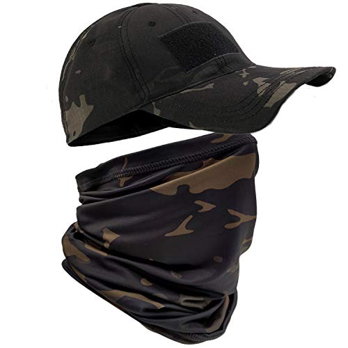 HOPSOOKEN Camo Hats for Men with Cooling Sun UV Neck Gaiter Military Tactical Hunting Hat for Running Hiking Baseball Cap(Camo Black)