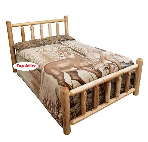 Michigan Rustics Rustic Log Bed, Lacquered Cedar Bed Frame for Rustic Bedroom, for Log Cabins, Vacation Homes, and More - Queen Bed Frame