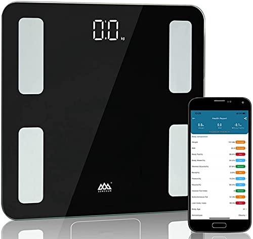 SENSSUN Bascula de Baño Digital Grasa Corporal analizador de composición corporal 26*26cm Pantalla LED con 15 Funciones(negra)
