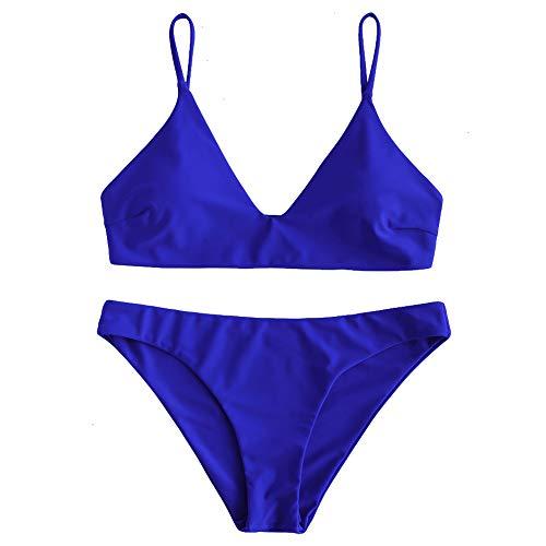 ZAFUL Women's Solid Spaghetti Strap Bralette Bikini Set Two Piece Swimsuit (Cobalt Blue, M)