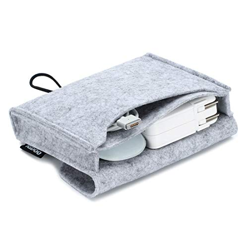 NIDOO Filz Lagerung Beutel Tasche Fall Case für MacBook Power Adapter, Maus, Handy, Kabel, SSD, HDD Gehäuse, Power Bank und mehr Zubehör, Grau