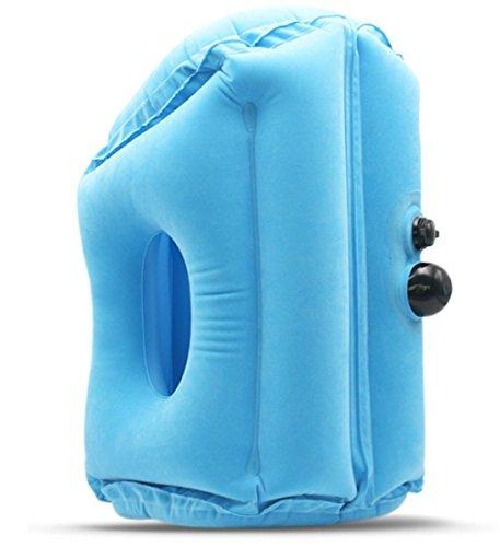 Yeying123 Inflatable Travel Pillow Schlafmittel - Flugzeug Kissen Für Langstreckenflüge & Road Trips Schnell Aufpumpen Deflate Compact,Blue,M