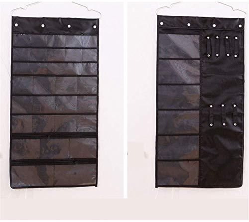 KEEBON Soporte de exhibición de joyas Organizador de la joyería colgante con 38 bolsillos y 7 gancho de bucles de almacenamiento para accesorios para el cabello Collares de collares Maquillaje Pulsera