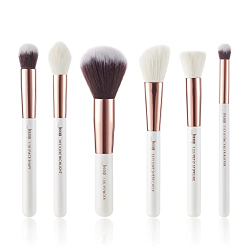 Jessup Marca 6 unids cepillo de maquillaje conjunto perla blanco rosa oro cosm¨¦ticos Fundaci¨n pintura mejilla destacar polvo maquillaje kits Sets T224