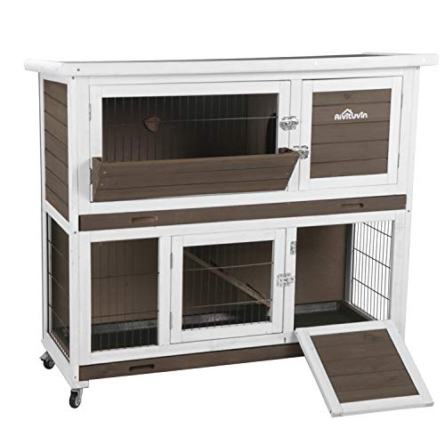 "Aivituvin 47"" Rabbit Hutch Outdoor and Indoor 2- Story Bunny cage on Wheels"