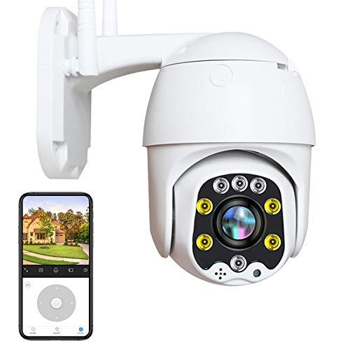 Wifi Inalámbrica IP Cámara Vigilancia Exterior HD 1080P PTZ Cámara WiFi Exterior,Impermeable IP66,Visión Nocturna en Color,Alerta E-Mail,Audio Bidireccional,Detección de Movimiento,P2P 【Cámara+32G】