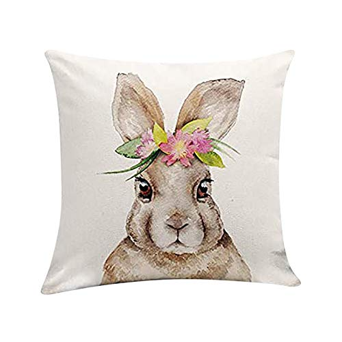 Fundas de Almohada con patrón de Conejo de 45x45 cm de Pascua Fundas de Almohada Creativas Protectores de Cojines Adorno para el hogar para Sala de Estar Dormitorio Favor de Fiesta de Pascua
