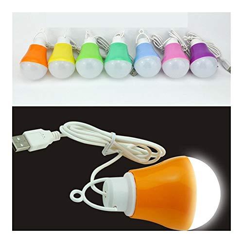 XLY Lámpara de Mesa Dormitorio Moda Colorido PVC Ambiental 5V 5W del Bulbo de la lámpara USB portátil de luz for Viajes de Senderismo Acampar