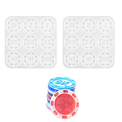 Cashger Poker Chips Commemorative Coin Molds, 2 Pieces Epoxy Resin Mould for Making Digital Currency Art Collectible Coins Texas Poker Chip DIY Molds