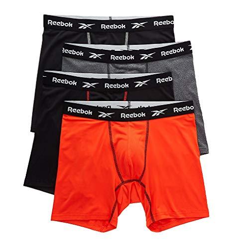 Reebok Herren-Boxershorts, 4 Stück, Größe S, Schwarz/Grau/Orange