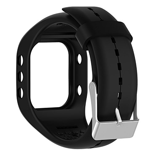 QGHXO Band for Polar A300, Soft Adjustable Silicone Replacement Wrist Watch Band for Polar A300 Watch (Black)