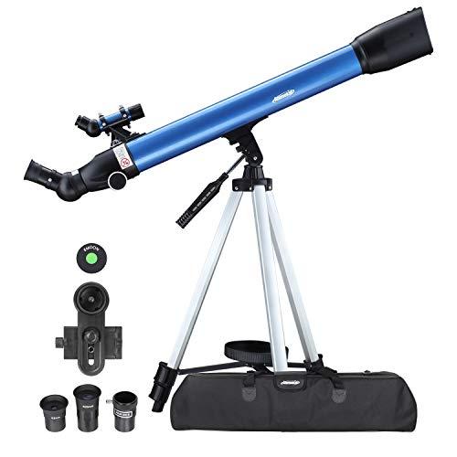 Aomekie Teleskop Astronomie 60/700 Fernrohr Teleskop Kinder Einsteiger mit 10X Smartphone Adapter Ausziehbares Stativ Tasche Mondfilter und Aufrechtes Sucherfernrohr