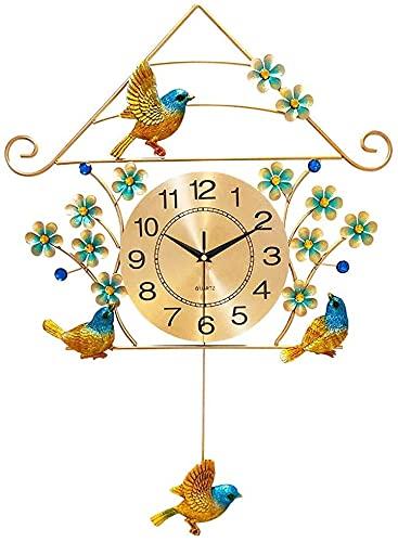 MUZIDP Reloj de pared antiguo país decoración del hogar creativo mute reloj de pared silencioso reloj de pared para el hogar sala de estar reloj decorativo de pared de pájaro reloj decorativo