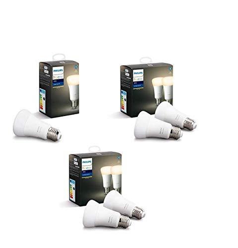 Philips Hue White Pack de 5 bombillas LED inteligentes E27, luz blanca cálida, compatible con Bluetooth y Zigbee, funciona con Alexa y Google Home