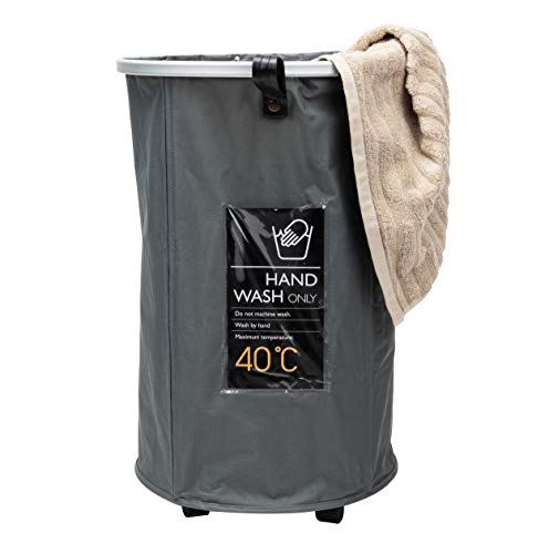 Mind Reader Pop Up Rolling Collapsible Hamper with Wheels, Drawstring Mesh Lining for Carrying Laundry, 93 Liter, Grey