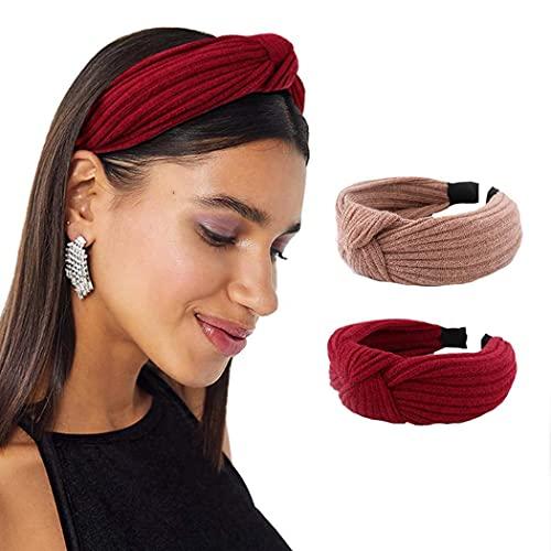 Diademas vintage turbante anudado banda para el cabello en forma de cruz nudo rojo envoltura para la cabeza de color puro para mujeres y niñas, paquete de 2, adecuado como regalo para niñas