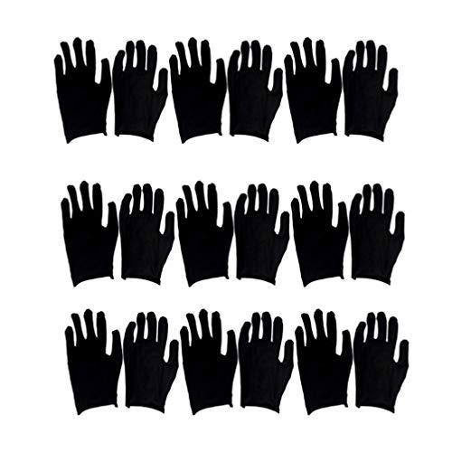 Exceart 12ペア安全手袋黒綿手袋保護手袋多目的手袋黒サイズM(薄い)