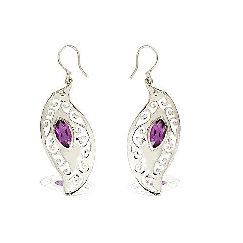 Shine Jewel Pendientes de filigrana de amatista con forma de marquesa de plata de ley 925 para mujer Marquesa Amatista