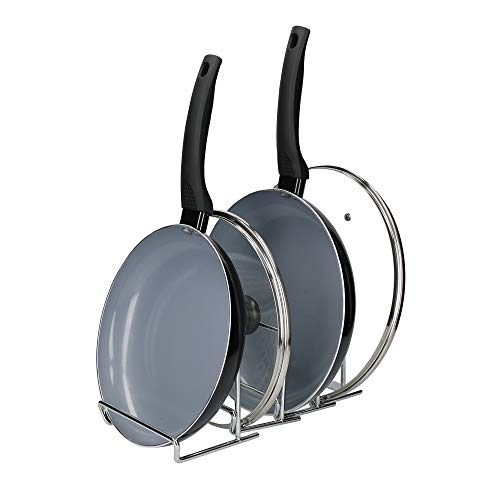 MasterClass Smart Space Expanding Pan Rack/Saucepan Lid Holder, Metal, Collapsible to 12 x 15.5 x 12 cm