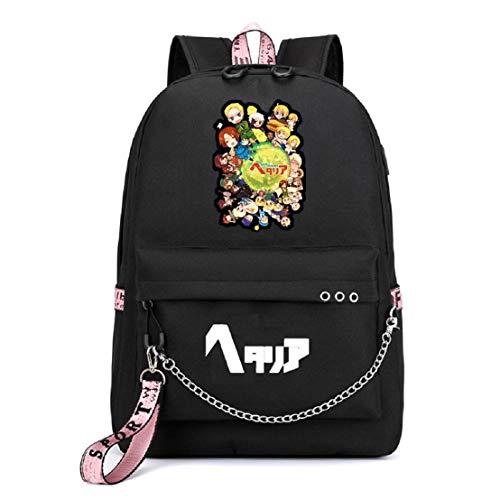 YOYOSHome Japanische Anime Cosplay Büchertasche Daypack Laptoptasche Rucksack Schultasche mit USB-Ladeanschluss, Axis Powers Hetalia 1 (Schwarz) - yyyo3