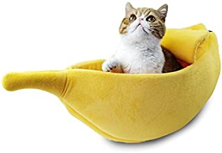 Pet Grow Cute Banana Cat Bed House Medium Size, Pet Bed Cave Soft Cat Cuddle Bed, Lovely Pet Supplies for Cats Kittens Be...