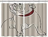 BOKEKANG Cortinas para Ventana de Cocina,Greydog Imagen del Bulldog Inglés,Cortina Corta para Cocina Decoración de Ganchos para Baño,Pack 2,140x100cm